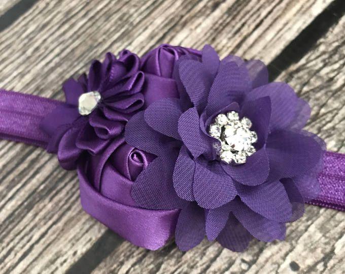 Cinta púrpura, púrpura, diadema de diamantes de imitación, venda de la muchacha de flor, diadema de flores, diadema floral.