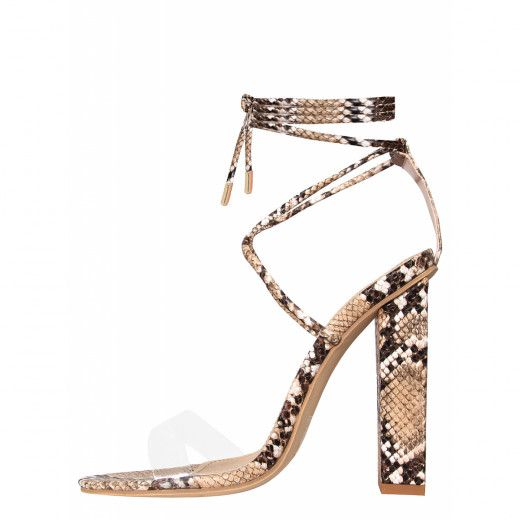 8bb2f10a454 Tifany Beige Snake Clear Lace Up Block Heels in 2019 | Things to ...