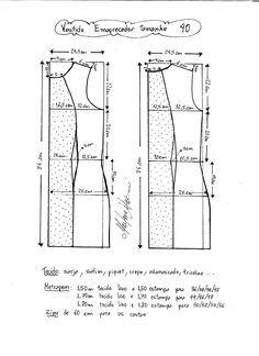 Esquema de modelagem de vestido tubinho que afina a silhueta tamanho 40.