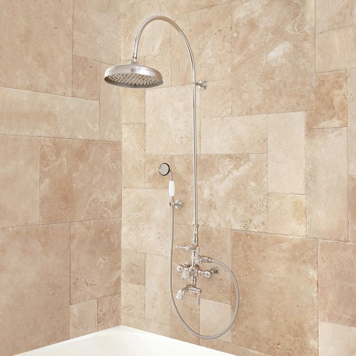 """Oxford+Thermostatic+Tub+and+Shower+Set+-+18""""+Arching+Shower+Arm+and+Hand+Shower+-+1/2""""+IPS"""