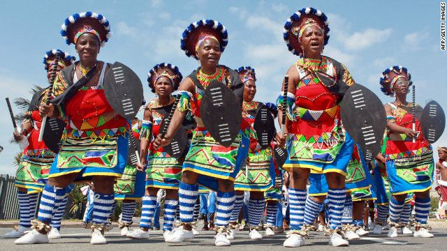 Zulu people march to celebrate South African Heritage Day, on September 24 every year.