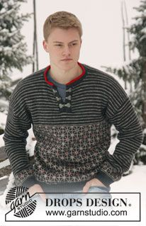 "Knitted DROPS mens jumper with Norwegian pattern in ""Karisma"". Size: S - XXXL. ~ DROPS Design"