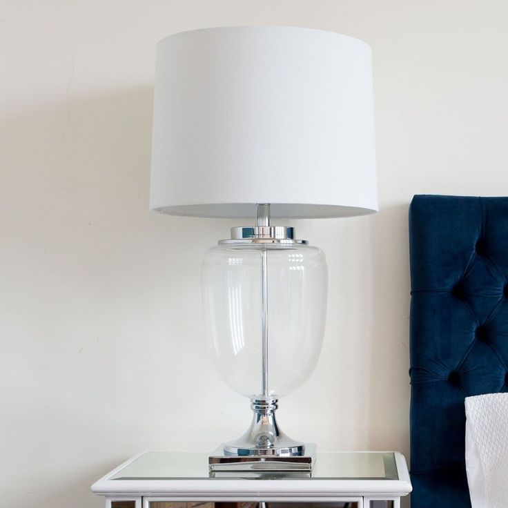 Hamptons Lamp Perfect lamp for console table or bedside. Love the classic shape with modern nickel and glass detail #tablelamp #hamptons #classic #light #bedroom #hallway