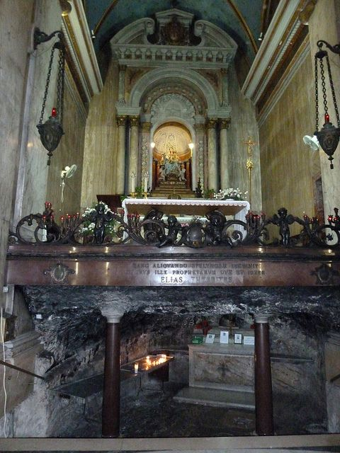 The altar and the ancient grotto (where prophet Elijah is said to have lived) in Stella Maris Carmelite Monastery, Haifa, Israel