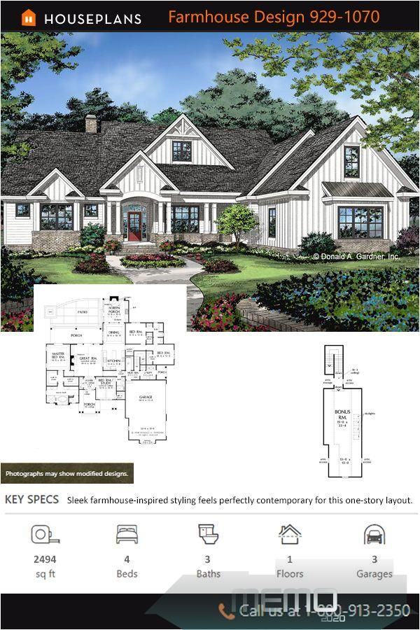 Jan 17 2020 Plan 929 1070 Sleek Farmhouse Inspired Styling Feels Perfectly Contemporar In 2020 Farmhouse Style House Plans Craftsman House Plans Dream House Plans
