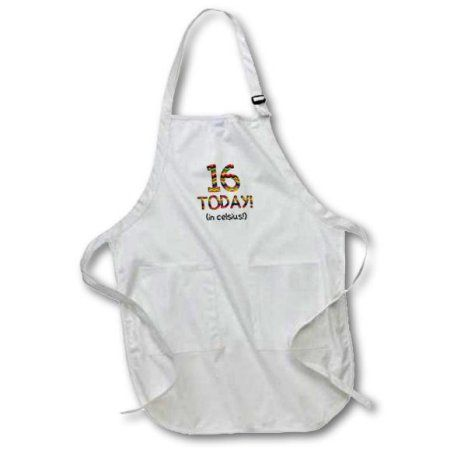 3dRose 16 Today? in celsius - Funny 60th Birthday. 16C is 60 in fahrenheit, Medium Length Apron, 22 by 24-inch, With Pouch Pockets