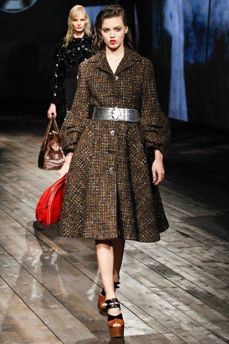 Flared Skirt Coat Dress |  Flared Skirt #Fashion #Trend for Fall Winter 2013 | Prada Fall Winter 2013#mfw