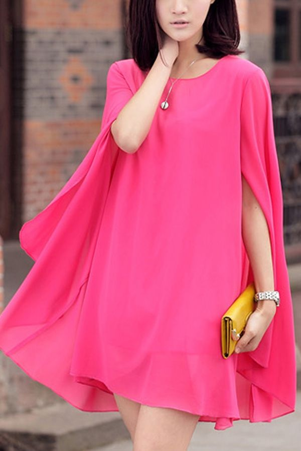 My favorite color - everyone has a different name for it: fuchsia, hot pink, magenta, dark rose... whatever it is, it was made for ME. Cape Design Chiffon Dress
