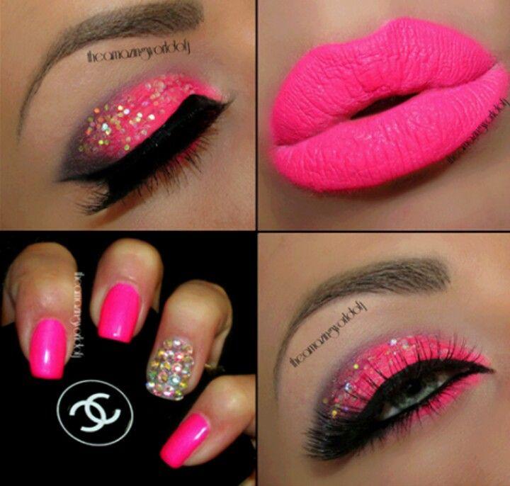 Hot Pink Eyeshadow with Glitter & Hot Pink Lipz