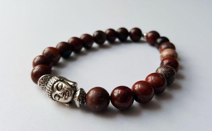 Unisex Genuine Poppy Japser Buddha Bracelet by Wild Lotus Jewellery