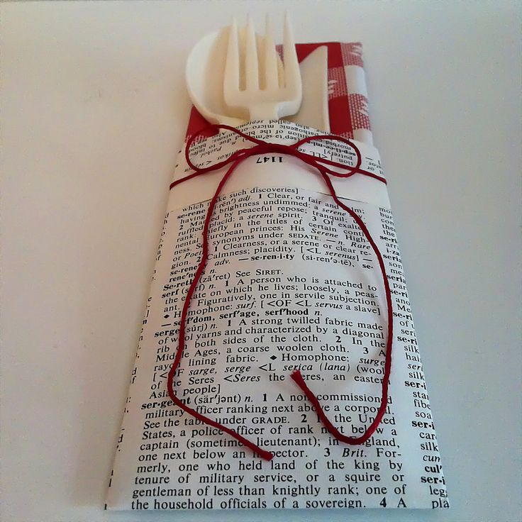 Napkin and Silverware Holder, VINTAGE DICTIONARY Pages, Set of 6, Party, Birthday, Wedding, Shower, Graduation, Red, Black, White, Picnic. $4.99, via Etsy.  Book Club party?