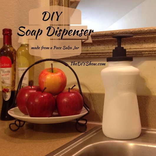 diy soap dispenser using pace picante or salsa jar, crafts, repurposing upcycling - Now this one is creative...