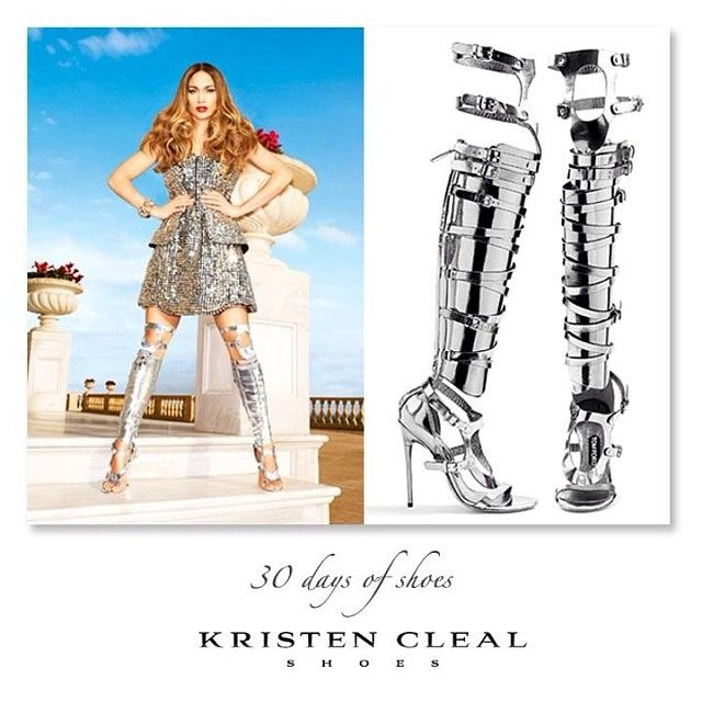 J.LO IS BABE'N THE FEMBOT LOOK! #20- TOM FORD, Thigh High Gladiator Buckle Sandal Boots. Designed as part of his Spring 2013 Collection. Featuring open toe, gun-metal leather