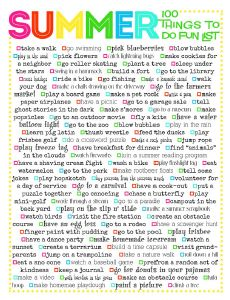 Summer Fun List- over 100 fun and easy ideas to keep the kids entertained this summer. #summerbucketlist #kidscrafts