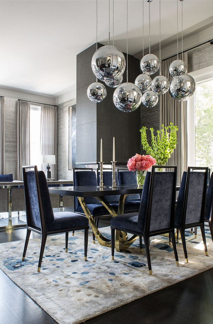 "Blue Dining Room | Blue dining room ideas: velvet upholstered dining room chairs matching with dining room rug. The gold dining room table legs really gives an ""expensive look"" and adds the room the glamor it needs. 