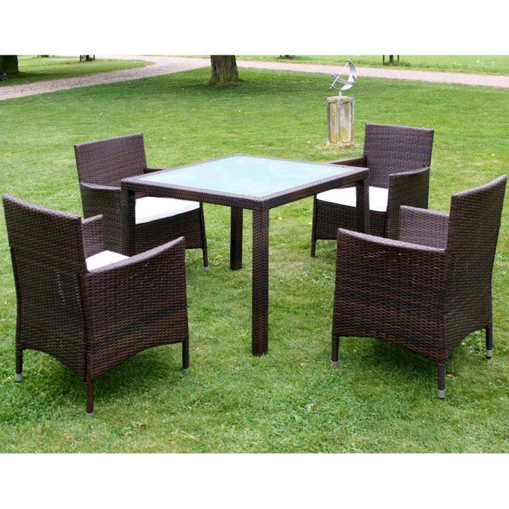 Simple Garden furniture set brown poly rattan