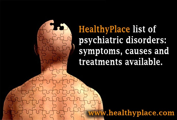 Complete list of psychiatric disorders and their adult symptoms.