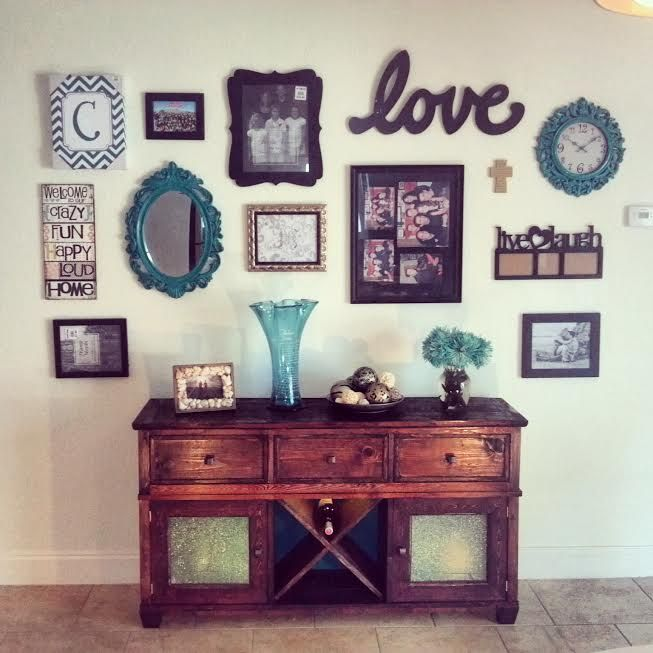 buffet table hutch with wall collage do it yourself home projects from ana white