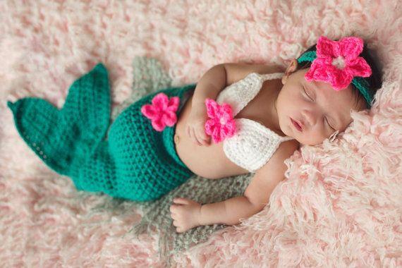 Baby Mermaid Costume Baby Mermaid Photo Prop by CrochetBoutiqueKL