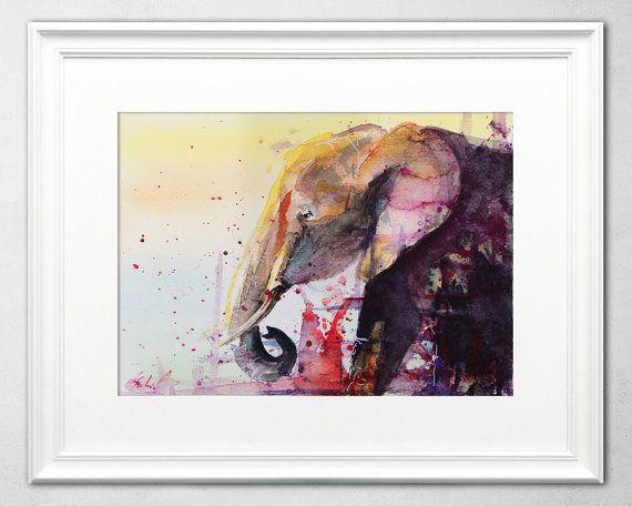 Elephant Watercolor Painting by Ivars Selickis #watercolor #elephant #elephantwatercolor #elephantpainting #wildlife #animalpainting #artforsale
