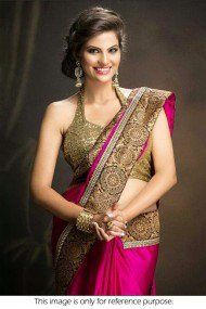 Bollywood Style Kritika Sood Chiffon Saree In Pink and Gold Colour NC463