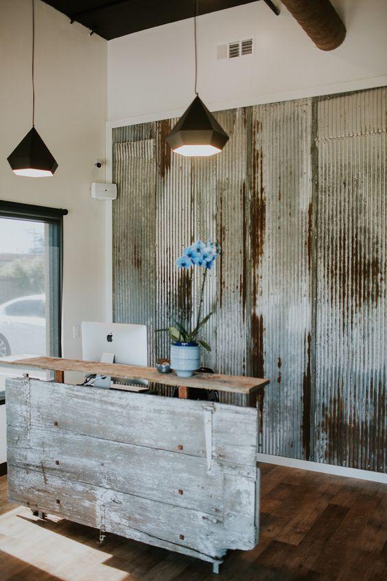 Image result for reception desk corrugated metal siding
