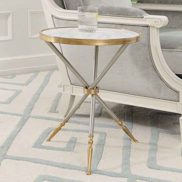 """Brushed Steel Side Table with Cast Brass Fittings and Sabots and Marble Table Top. 17"""" Dia, 21"""" H 