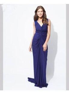 Blue Sheath V-neck Beaded Chiffon Long Formal Dresses 2015