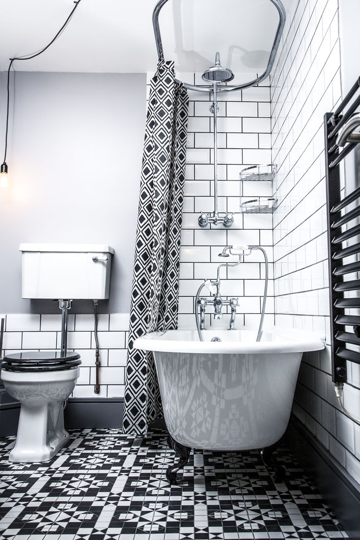 Black and white London bathroom in Peckham