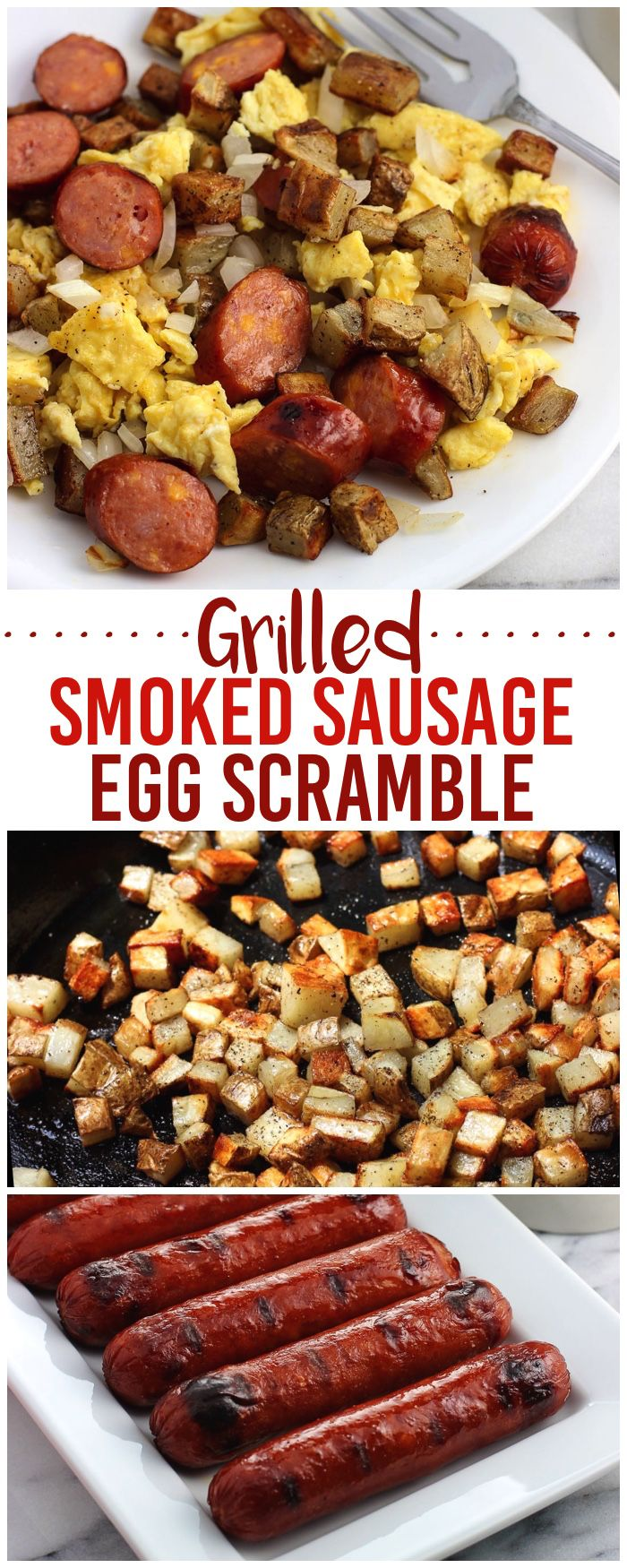Enjoy breakfast made entirely on the grill with this grilled smoked sausage breakfast egg scramble! A cast iron pan and the grill are all you need to prepare crispy potatoes, grilled onion, scrambled eggs, and perfectly grilled smoked sausage for a satisfying savory breakfast the whole family will love. #GiveLifeMoreFlavor AD