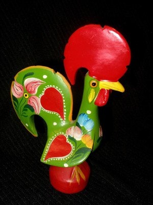PORTUGUESE FOLK ART POTTERY FIGURINE ROOSTER HAND PAINTED PORTUGAL