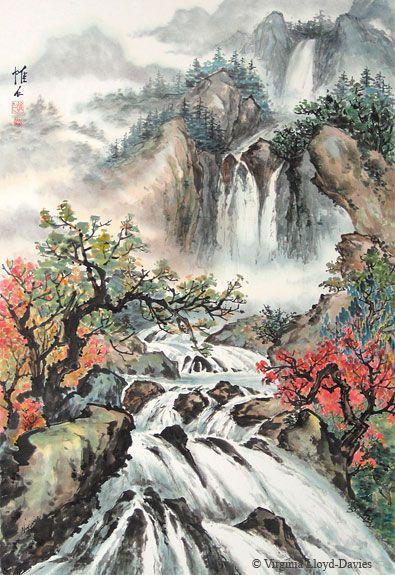 Waterfall, mountain, trees, rocks, river, rapids - Spring Waterfalls - by Virginia Lloyd Davies, Fairfield, VA