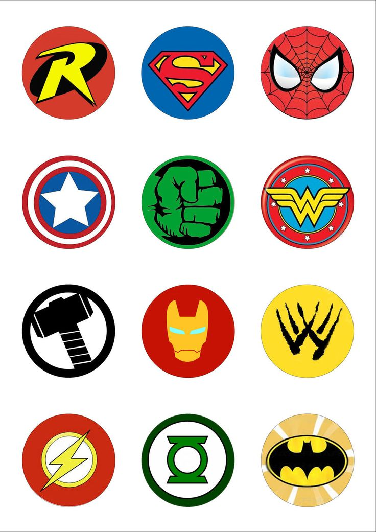 12 Round 50mm Superhero Logo Edible Wafer Paper Cake Toppers | eBay