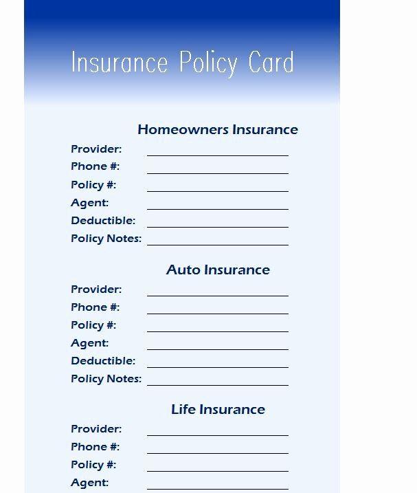 Insurance Card Template Pdf Beautiful Insurance Policy Card My Excel Templates Card Template Templates Cards