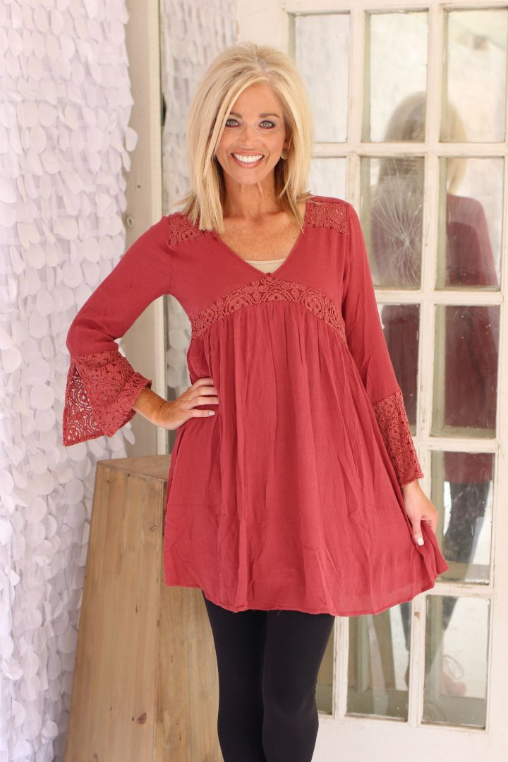 Still The One Crochet Accented Tunic With Keyhole ~ Brick ~ Sizes 4-10 - One Faith Boutique
