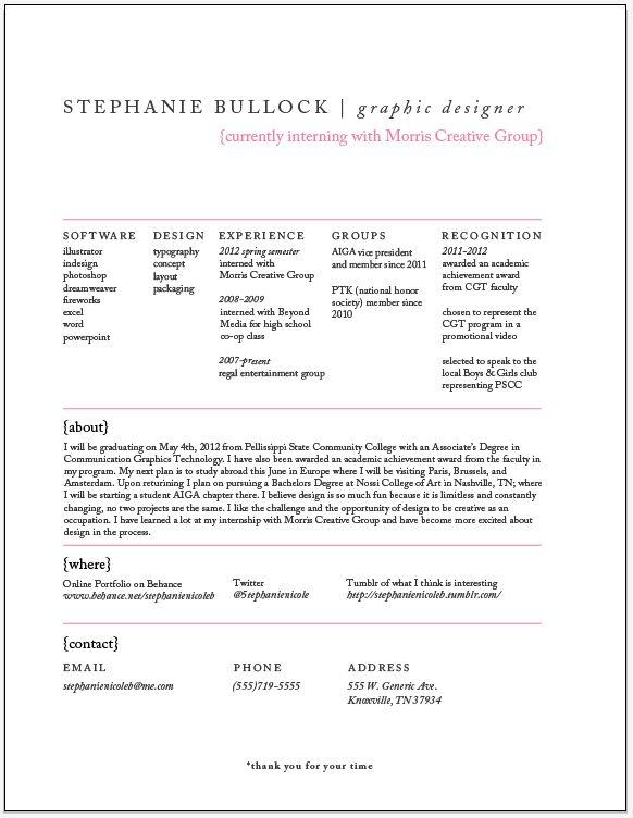 Stephanie Bullock→Resume - Mooie creatieve maar toch zakelijke cv!