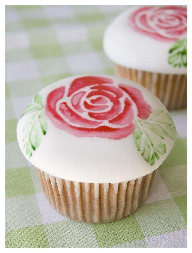 Cupcakes sello rosa Rose stamp cupcakes