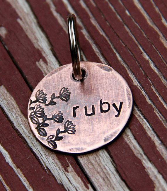 Cute Dog Tag - Custom Pet ID Tag Ruby in 1'' Copper by theCopperPoppy on Etsy, $13.00