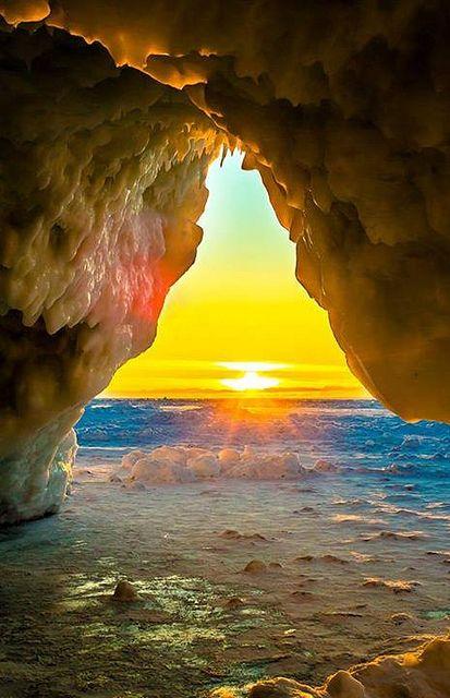 Gills Pier Ice Cave - near Leland - Michigan - USA