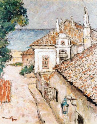 Street in Balchik , oil / canvas. Muzeul Judeţean de Artă Prahova Museum Ion Ionescu - Quintus Ploiesti Romania. (the artist ??)