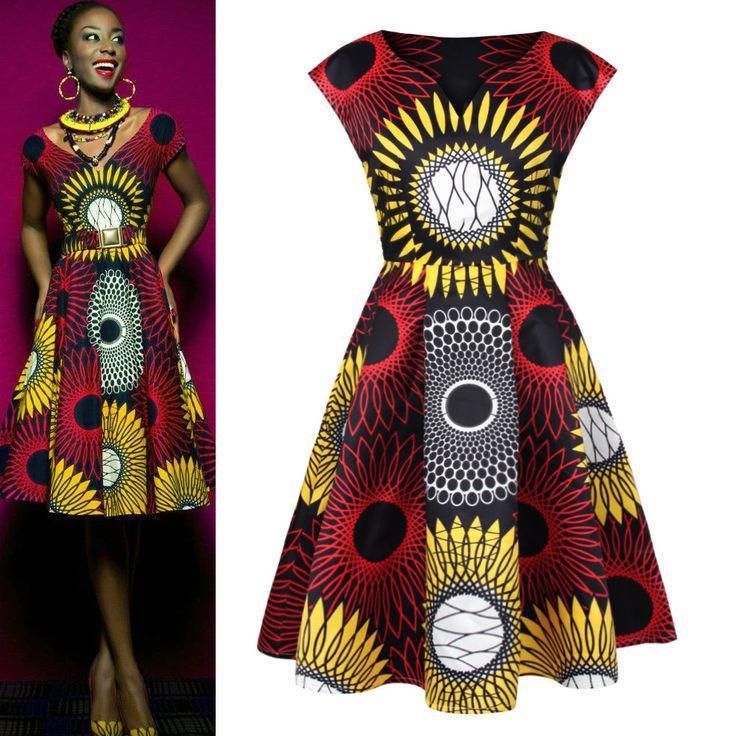 Heißer Verkauf Neue Mode-Design Traditionelle Afrikanische Kleidung Drucken Dashiki Nizza Hals Afrikanischen Kleider für Frauen