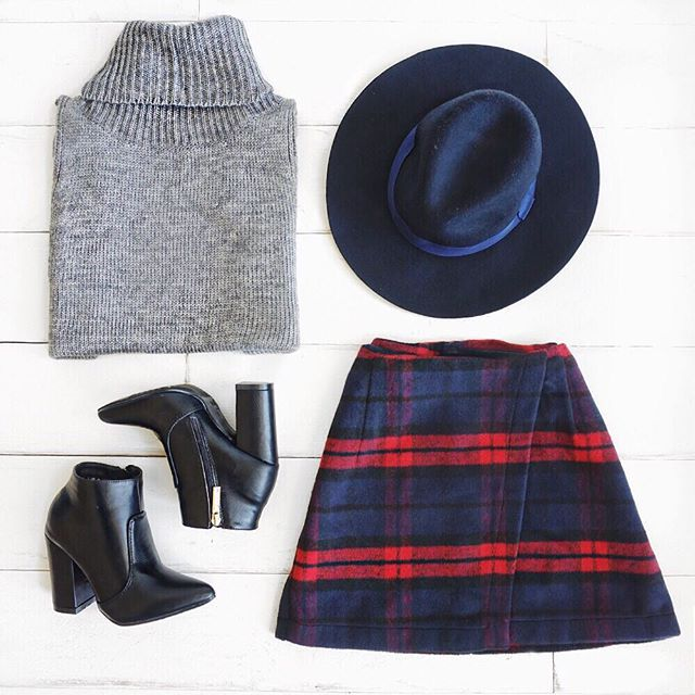 Winter plaid mini skirt + black booties with thick heel + grey turtle neck sweater + hat