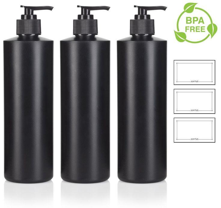 16 oz Black Refillable Plastic (BPA Free) Squeeze Bottle with Lotion Pump Dispenser - (3 Pack) + Labels