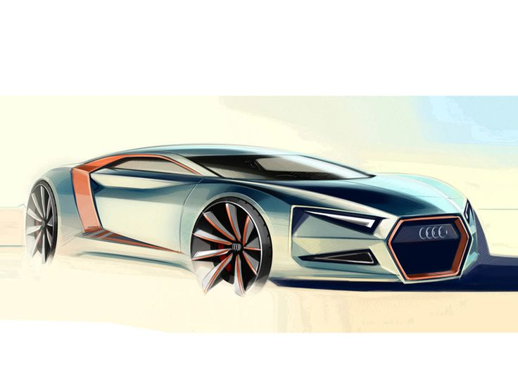 Audi concept car Digital sketch    Watercolor look/style       Sunny effect