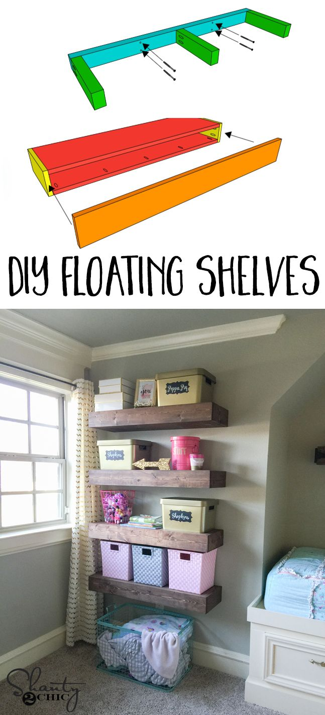 Hey guys! I built my youngest little lady some floating shelves for all of her junk important things, and I am sharing the plans for them today. I recently found that my Home Depot started carrying 1x5 pine boards. I decided to build these shelves using those, and the entire construction of these is done with my Kreg Jig. Check out how her floating shelves turned out!