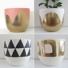 modern painted plant pots - Google Search