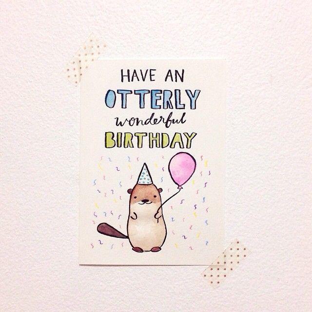 otterly wonderful birthday card