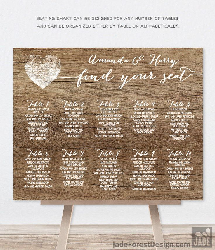 Rustic Wedding Seating Chart Sign DIY / Rustic Wood Sign, White Calligraphy / Custom Seating Sign ▷ Personalized and emailed printable file by JadeForestDesign on Etsy