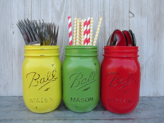 The Very Hungry Caterpillar Book- Painted Ball Mason Jars-Flower Vases- Yellow, Red and Green - Rustic/Wedding/Baby Shower/Centerpieces