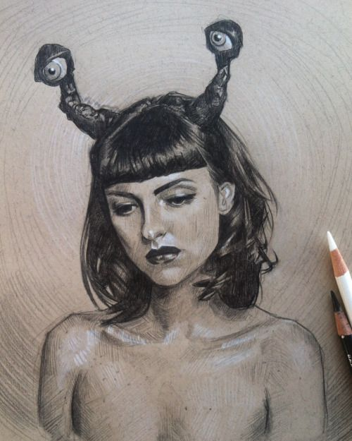 """amazing-syd: """" Portrait of an alien girl happilydecomposing"""""""